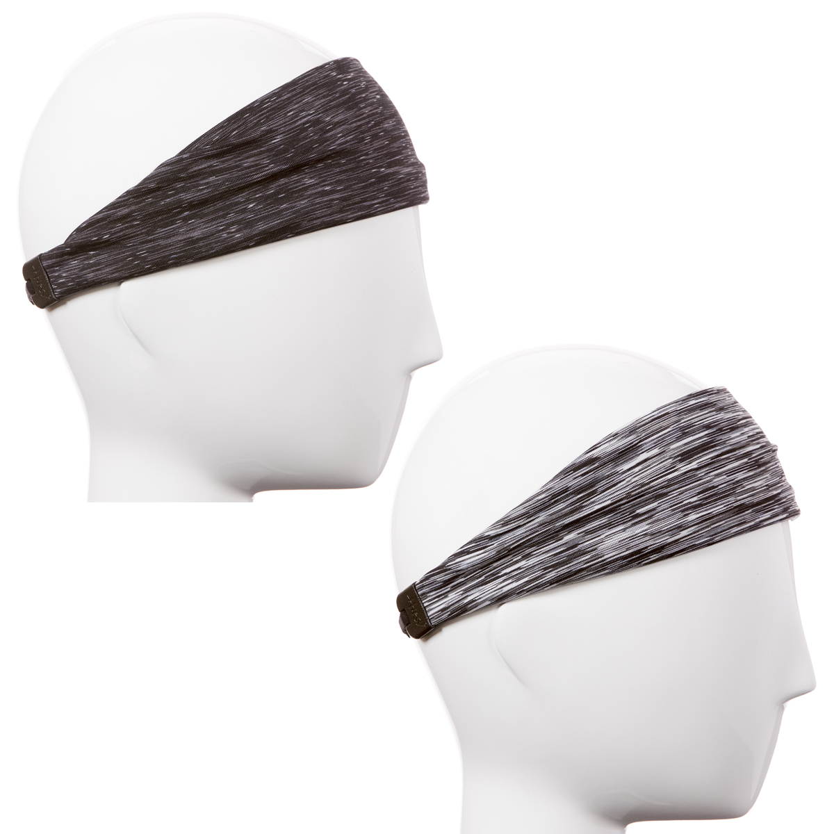 Hipsy Xflex Adjustable & Stretchy Sports Sweat Running Headbands for Women Gift Pack (Black & Grey 2pk)