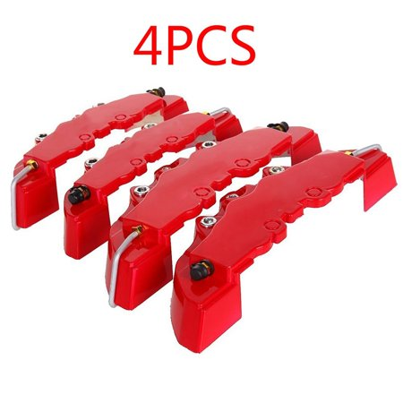 2PCS High Quality ABS Plastic Truck 3D Red Useful Car Universal Disc Brake Caliper Covers Front Rear Auto Universal Kit Decoration Modification Set for 14~18 Inch Over Wheels