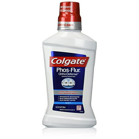 2 Pack - Colgate Phos-Flur Anti-Cavity Fluoride Rinse, Cool Mint 16 oz Each