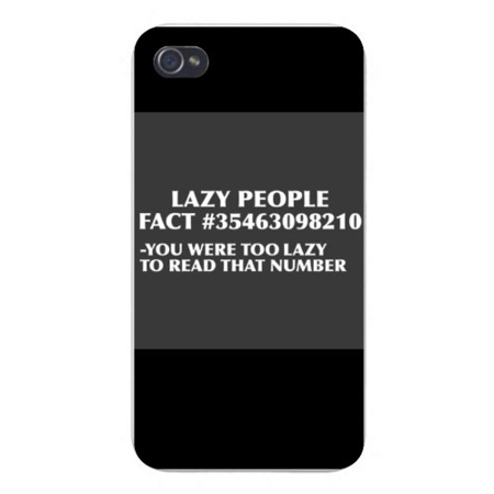 Apple Iphone Custom Case 5 / 5s White Plastic Snap on - Lazy People Fact Funny Humor ()