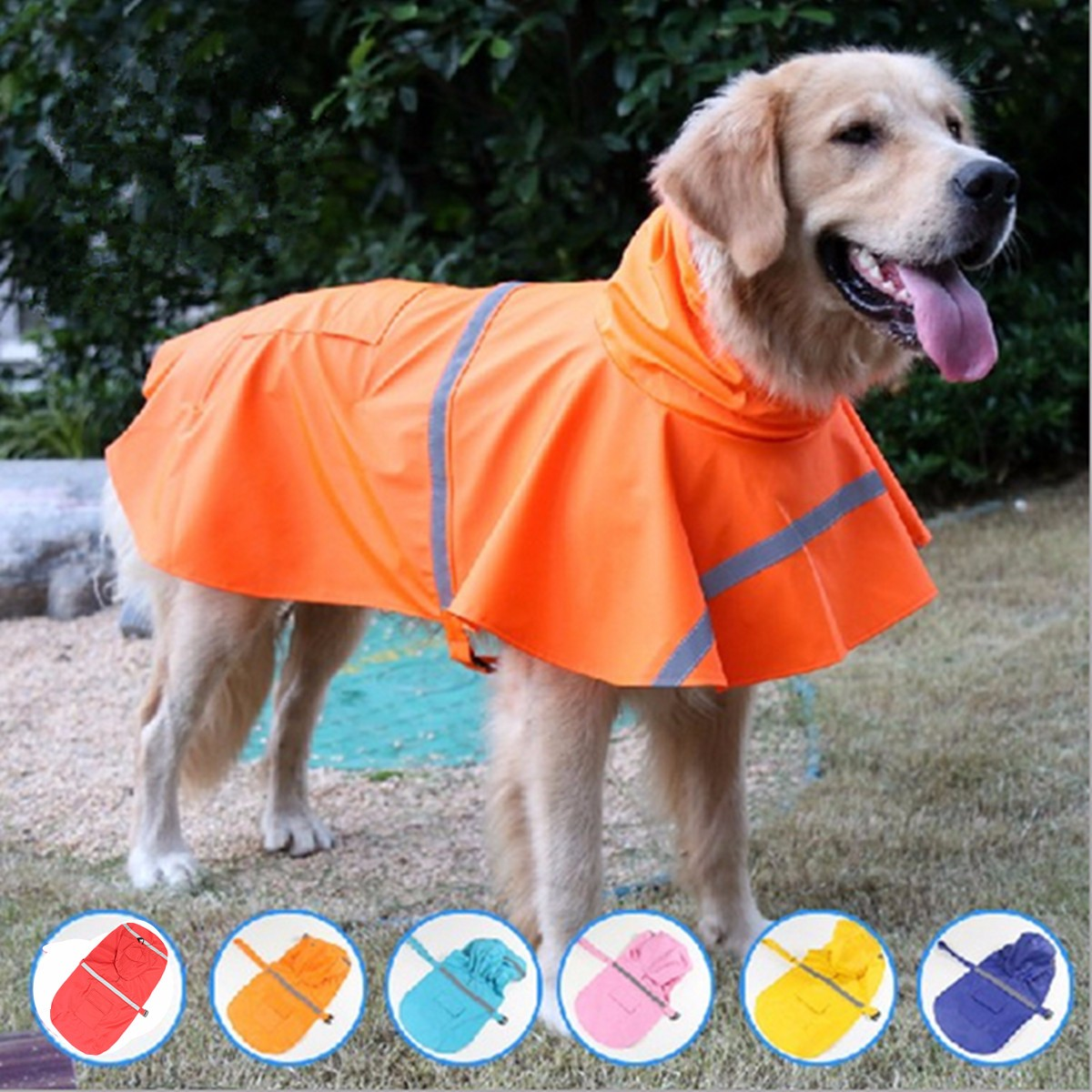 Waterproof Dog Raincoat Pet Clothes Hoodie Jacket Poncho Outdoor with Reflective Strip For L Size Dog