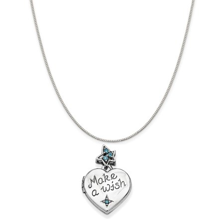 Make A Wish Necklace - Sterling Silver Polished Finish Simulated CZ Heart With Charm Make A Wish Locket (15 mm x 15 mm) Includes Box Chain Necklace, 16