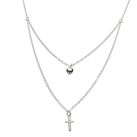 Sterling Silver 2-strand Tiny Cross Heart Charm Cable Chain Nickel Free Necklace Italy 16 Inch