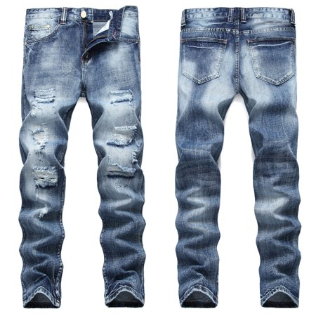 Men Straight Jeans Male Distressed Denim Pants Biker Jeans Ro Designer Bin Jeans for Men Religious Outfits