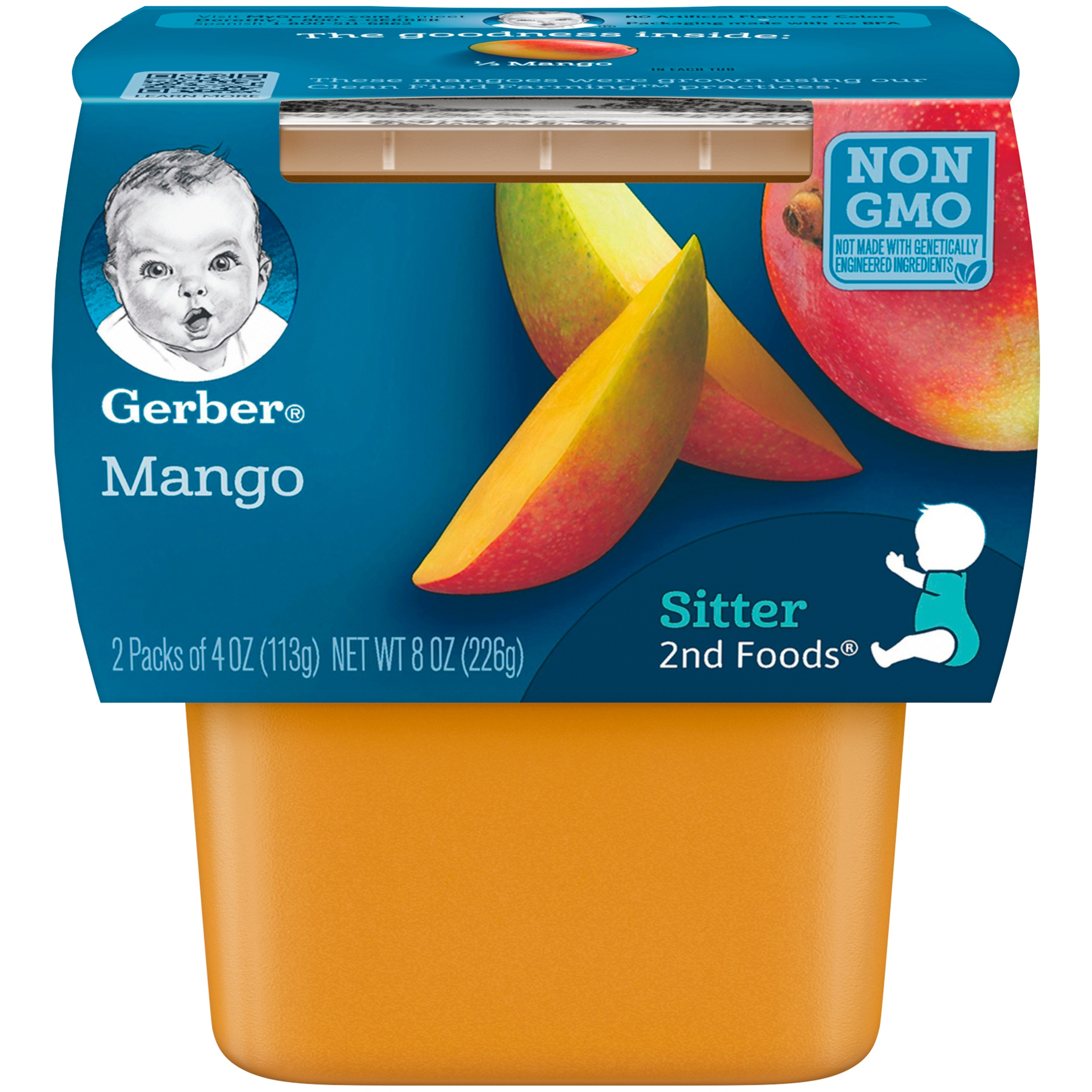 Gerber 2nd Foods Mangos Baby Food, 4 oz. Tubs, 2 Count (Pack of 8)