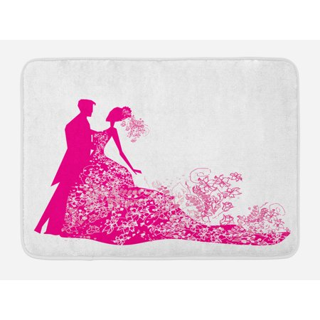 Wedding Bath Mat, Celebration Dancing Couple Vibrant Color Silhoette Ceremony Floral Wedding Dress, Non-Slip Plush Mat Bathroom Kitchen Laundry Room Decor, 29.5 X 17.5 Inches, Magenta White, Ambesonne - Wedding Ceremony Decor