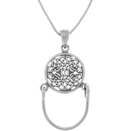 Sterling Silver Round Celtic Knotwork Charm Holder Pendant on 18 Inch Box Chain Necklace