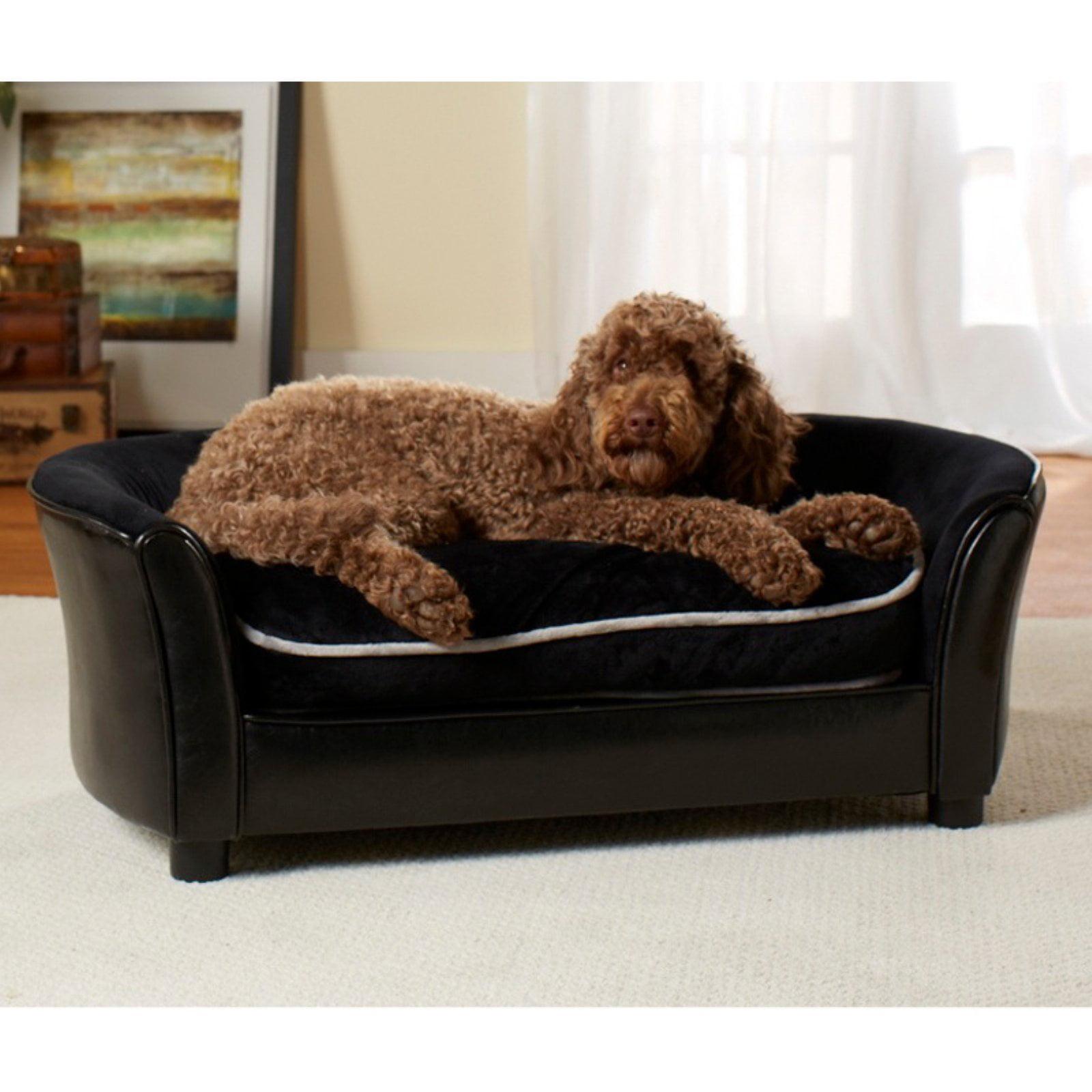 Enchanted Home Pet Ultra Plush Panache Sofa Pet Bed Black