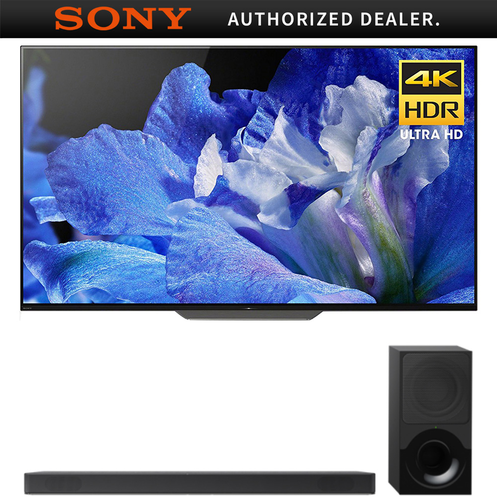 """Sony 55"""" Class 4K Ultra HD (2160P) HDR Android Smart BRAVIA OLED TV (XBR55A8F) with Sony HTX9000F 2.1Ch 4K HDR Compatible Dolby Atmos Soundbar with Bluetooth"""