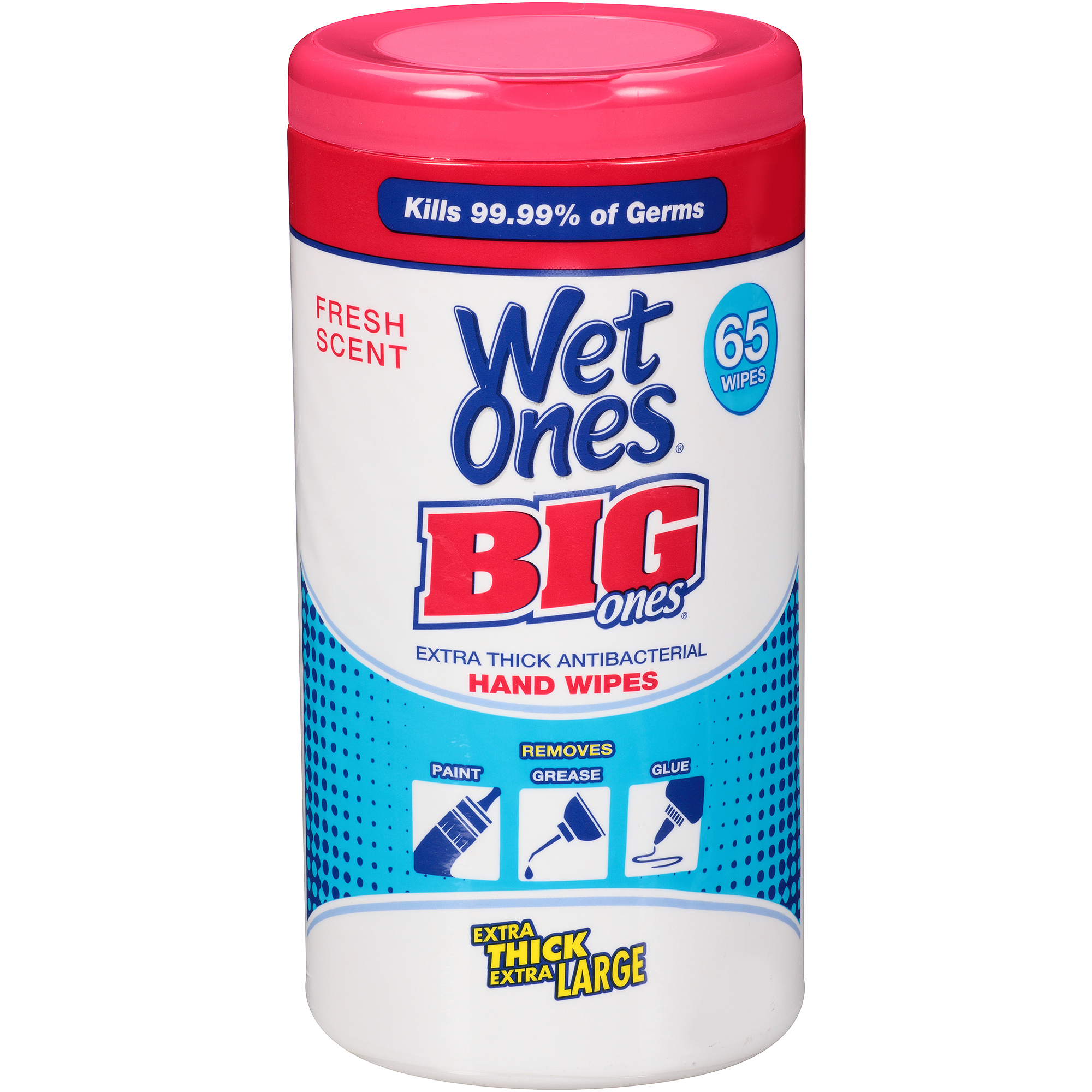 Wet Ones Big Ones Extra Thick Fresh Scent Antibacterial Hand Wipes, 65 wipes