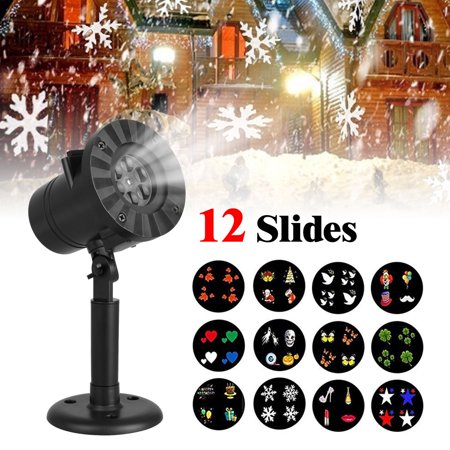 TSV LED Projector Light for Christmas Party Garden Halloween Wedding Decoration, Waterproof Holiday Spotlight Landscape Lamp for Indoor Outdoor Use, with 12 Slides