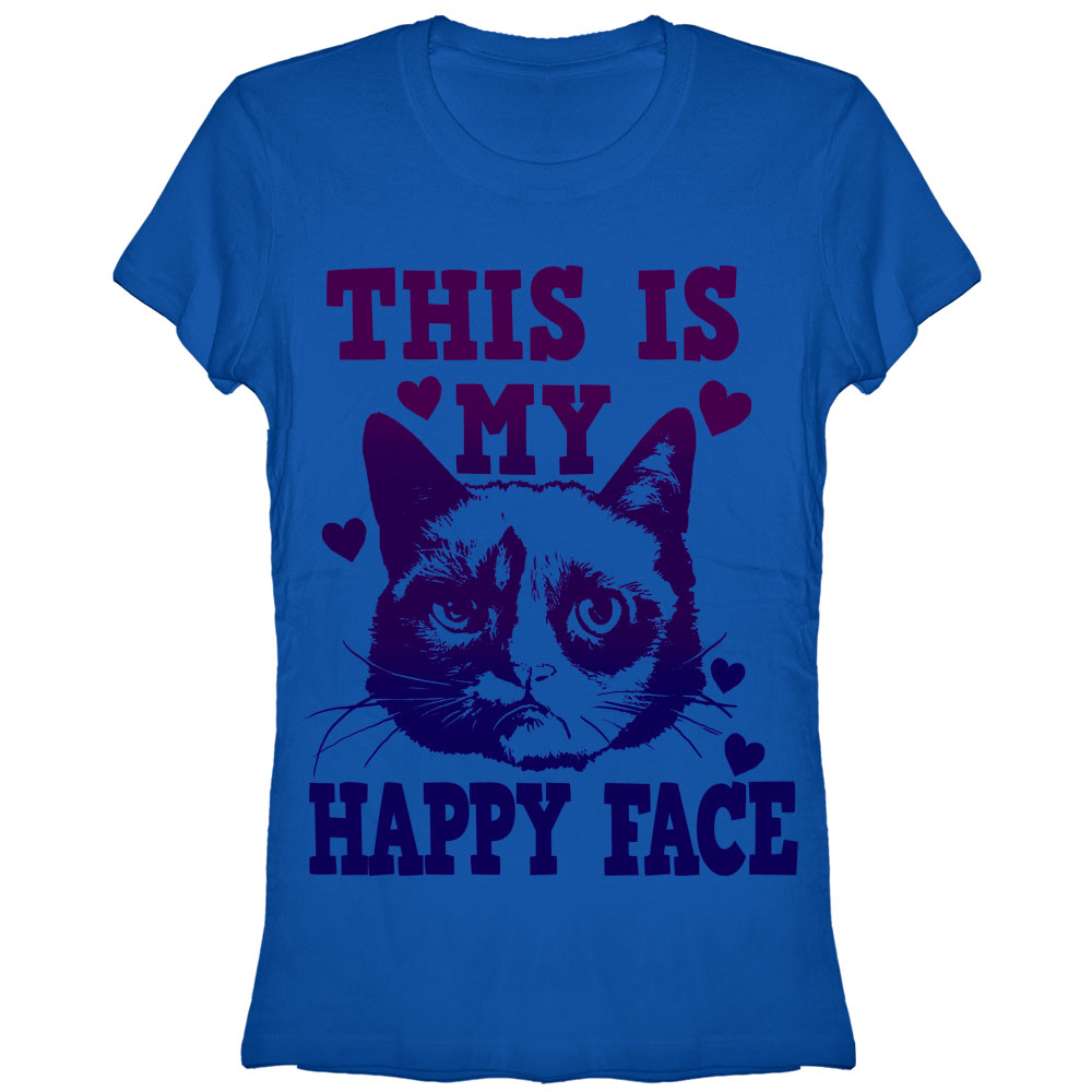 Grumpy Cat Juniors' Happy Face T-Shirt