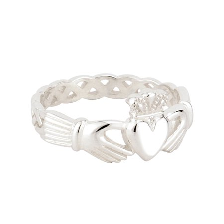 Sterling Silver Weave Ladies Claddagh Ring