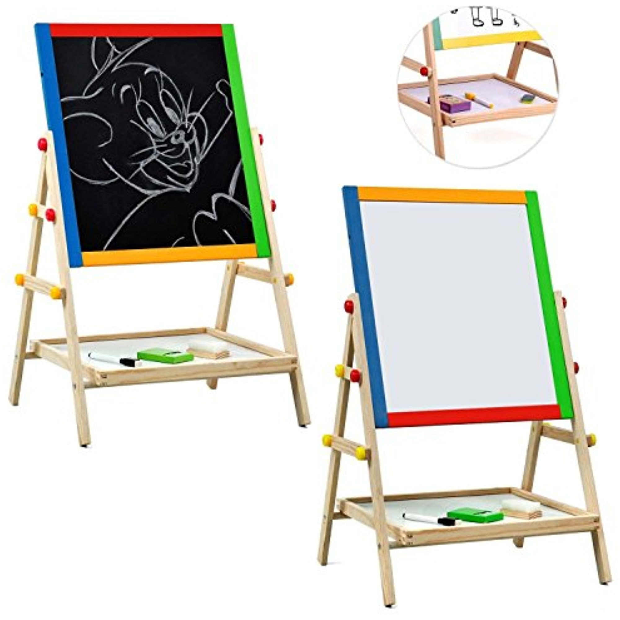 Estink draw board for kids,  2 in 1 Black / White Double Sided Wooden Easel Chalk Drawing Board