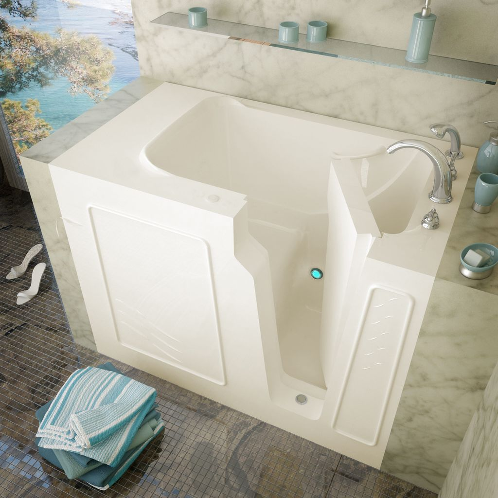 Meditub 29x52 Right Drain Biscuit Soaking Walk-In Bathtub