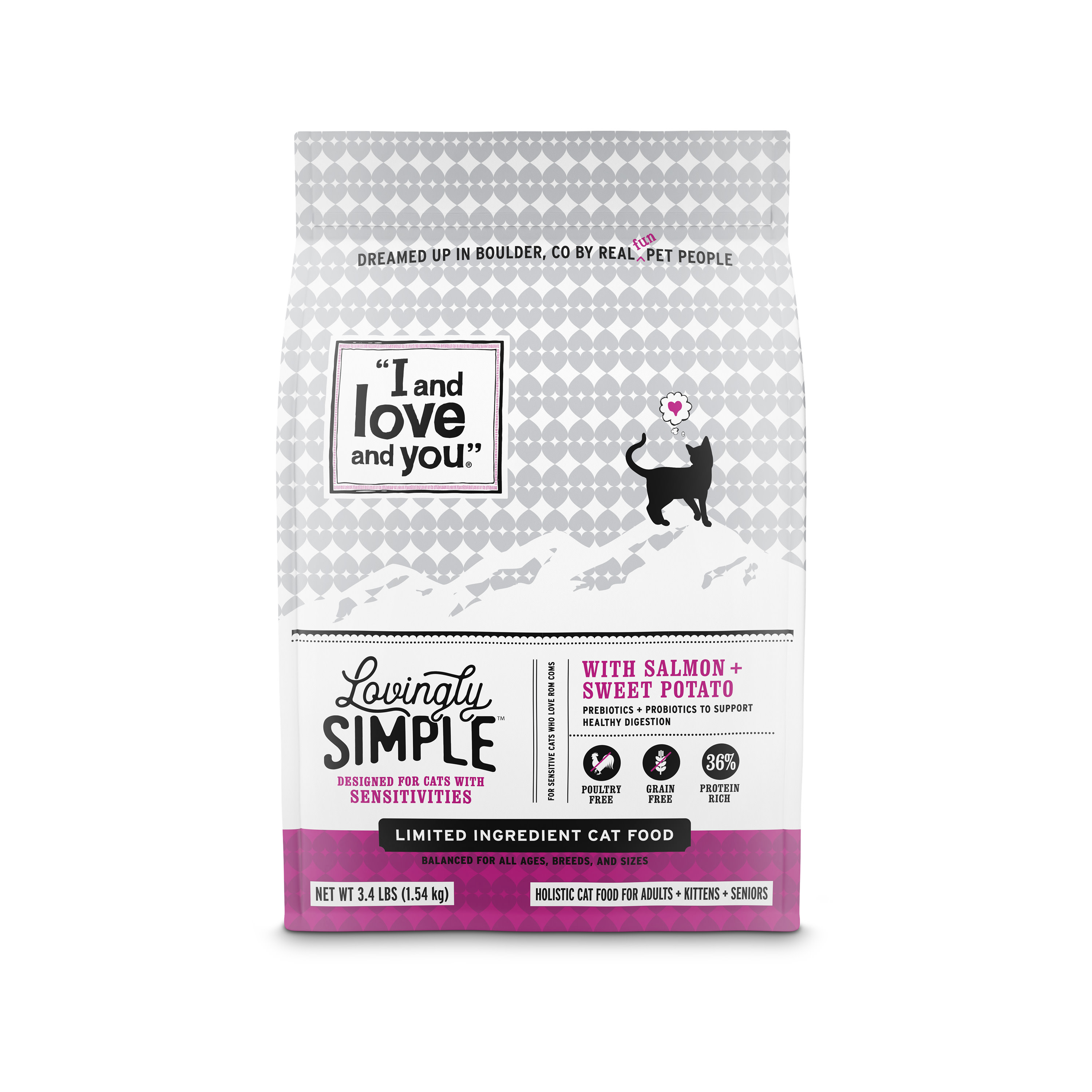 I and Love and You Lovingly Simple with Limited Ingredient Salmon & Sweet Potato Dry Cat Food, 3.4 lb