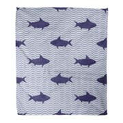 ASHLEIGH Throw Blanket Warm Cozy Print Flannel Blue Fish with Sharks and Ocean Waves Nautical Cute Sea Life Abstract Comfortable Soft for Bed Sofa and Couch 50x60 Inches