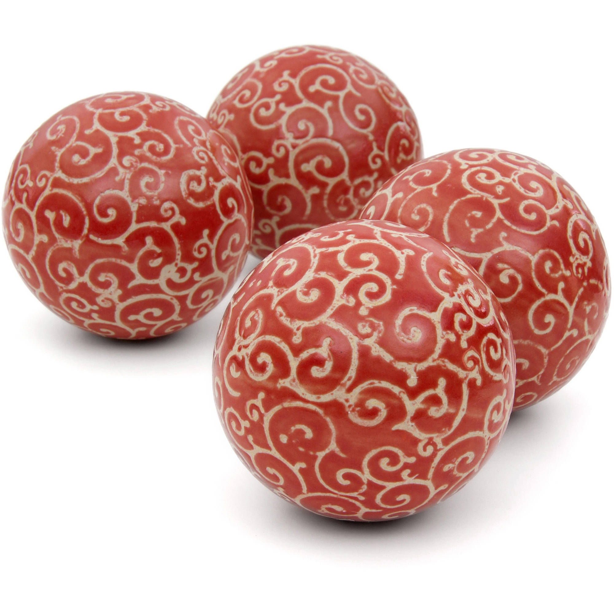 "4"" Red and Beige Vines Porcelain Ball Set by Oriental Furniture"