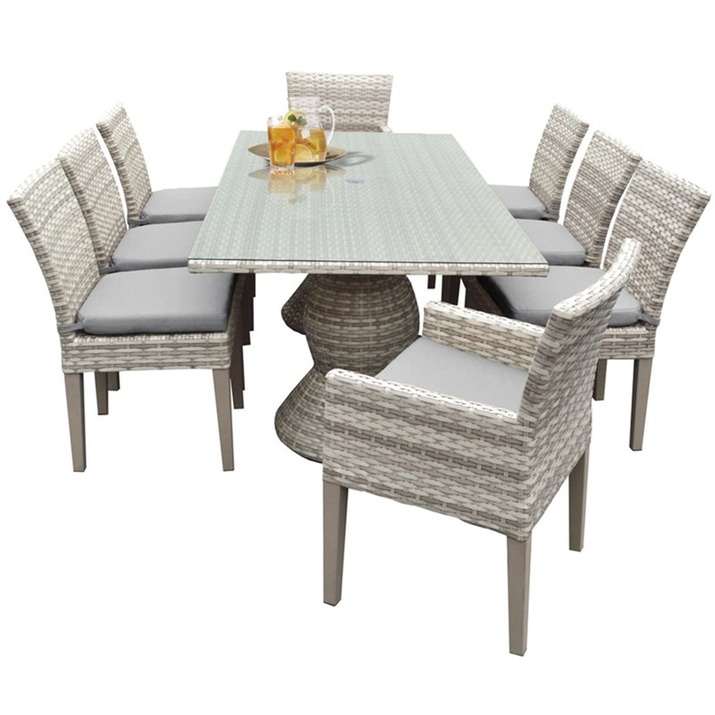 """TKC Fairmont 9 Piece 80"""" Glass Top Patio Dining Room Set in Gray by TK Classics"""