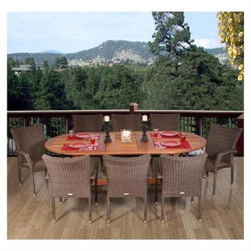 Rennaisance 9 Piece Eucalyptus/Wicker Extendable Oval Patio Dining Set
