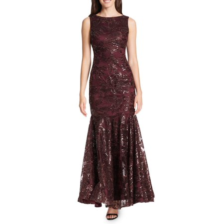 4879e6799976 Vince Camuto - Sequined Floral Lace Flare Gown - Walmart.com