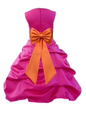 Ekidsbridal Fuchsia Satin Pick-Up Bubble Flower Girl Dress Weddings Special Occasions Pageant Toddler Birthday Party Holiday Bridal Baptism Junior Bridesmaid Communion 808t