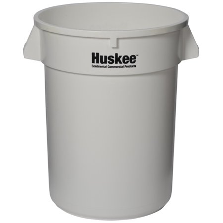(Price/Case)Continental Manufacturing 3200WH Huskee White Plastic 32 Gallon Round Waste Container 1-1 Each Continental Round Huskee Container