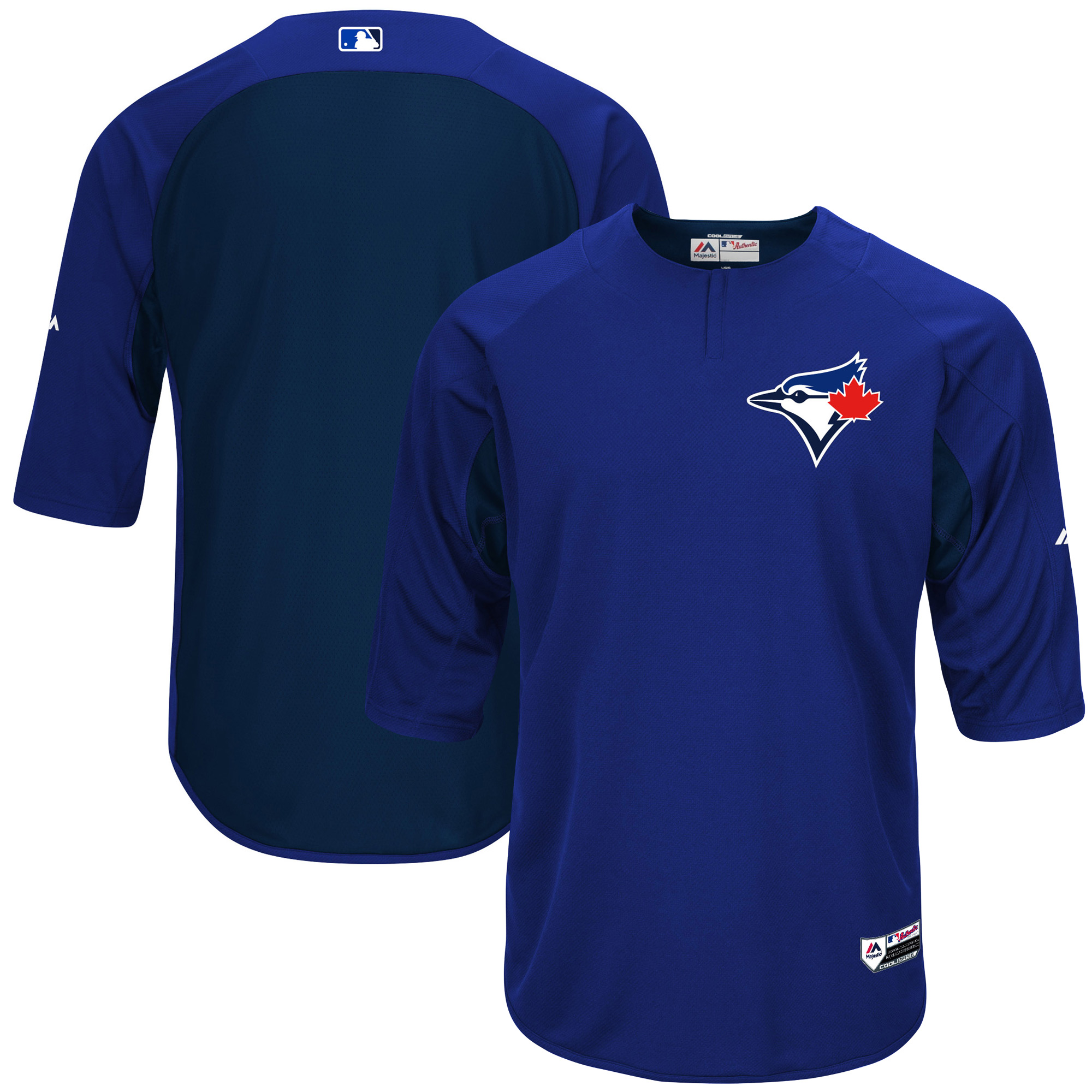Toronto Blue Jays Majestic Authentic Collection On-Field 3/4-Sleeve Batting Practice Jersey - Royal/Navy