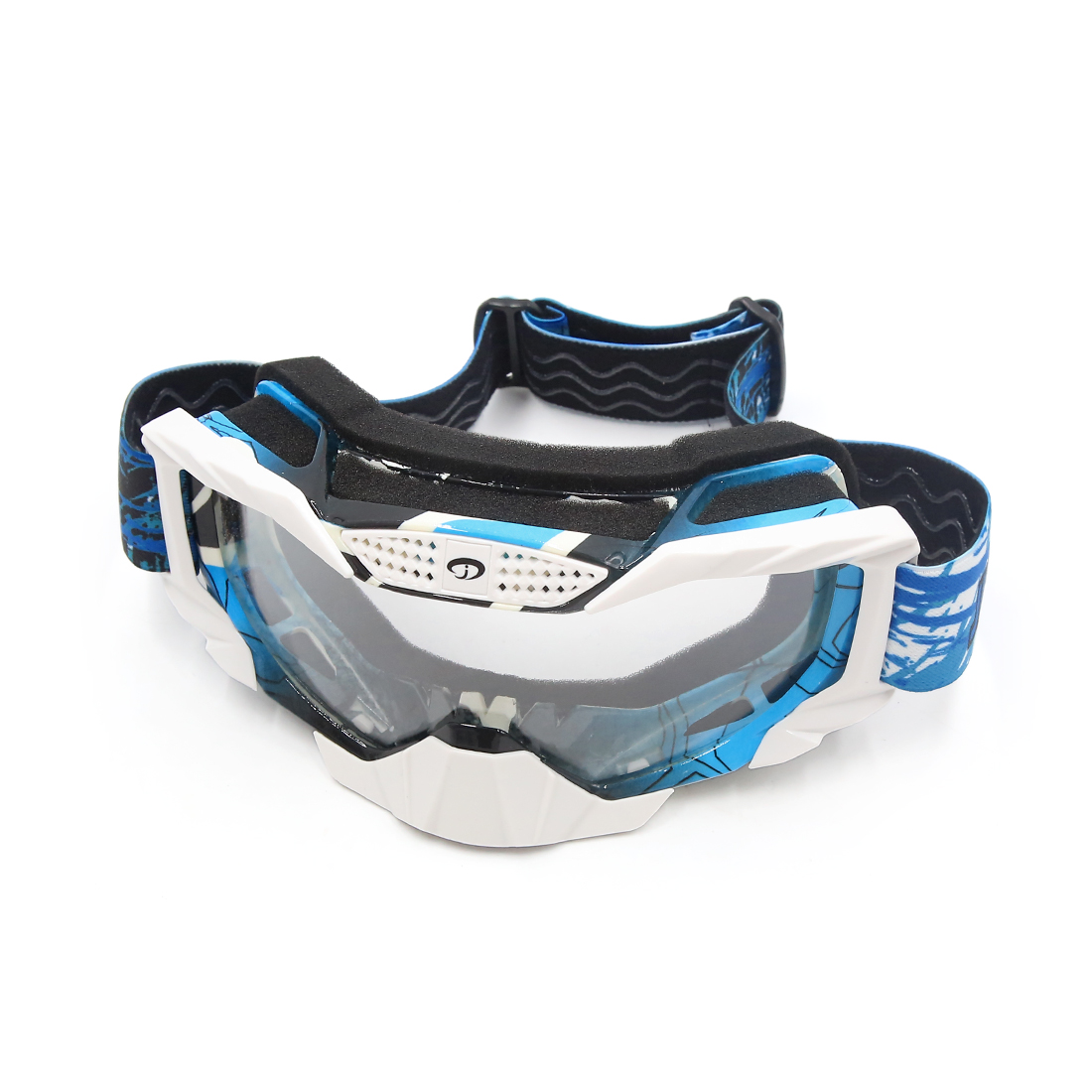 Blue Frame White Lens Windproof Dustproof Motorcycle Motocross Outdoor Goggles