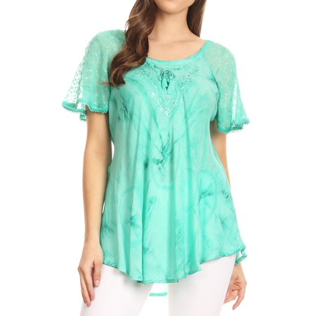 - Sakkas Hana Tie Dye Relaxed Fit Embroidery Cap Sleeves Peasant Batik Blouse / Top - Aqua - One Size Regular
