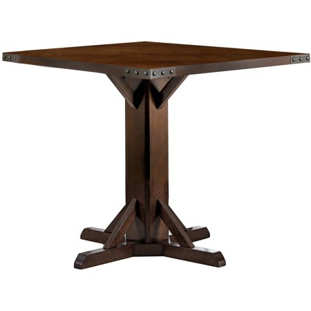 Furniture of America Elspeth Industrial Counter Height Dining Table, Brown Cherry