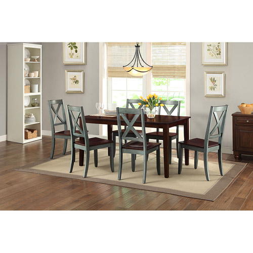 Bankston Mocha 7 Piece Dining Set with 6 Maddox Blue Chairs