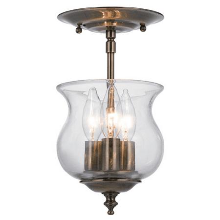 Semi Flush Mounts 3 Light With Antique Brass Glass Candelabra 7 inch 180 Watts - World of Lighting Antique Brass Semi Flush