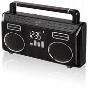 iLive iBB683B Retro Bluetooth Portable Boombox with Digital FM Radio