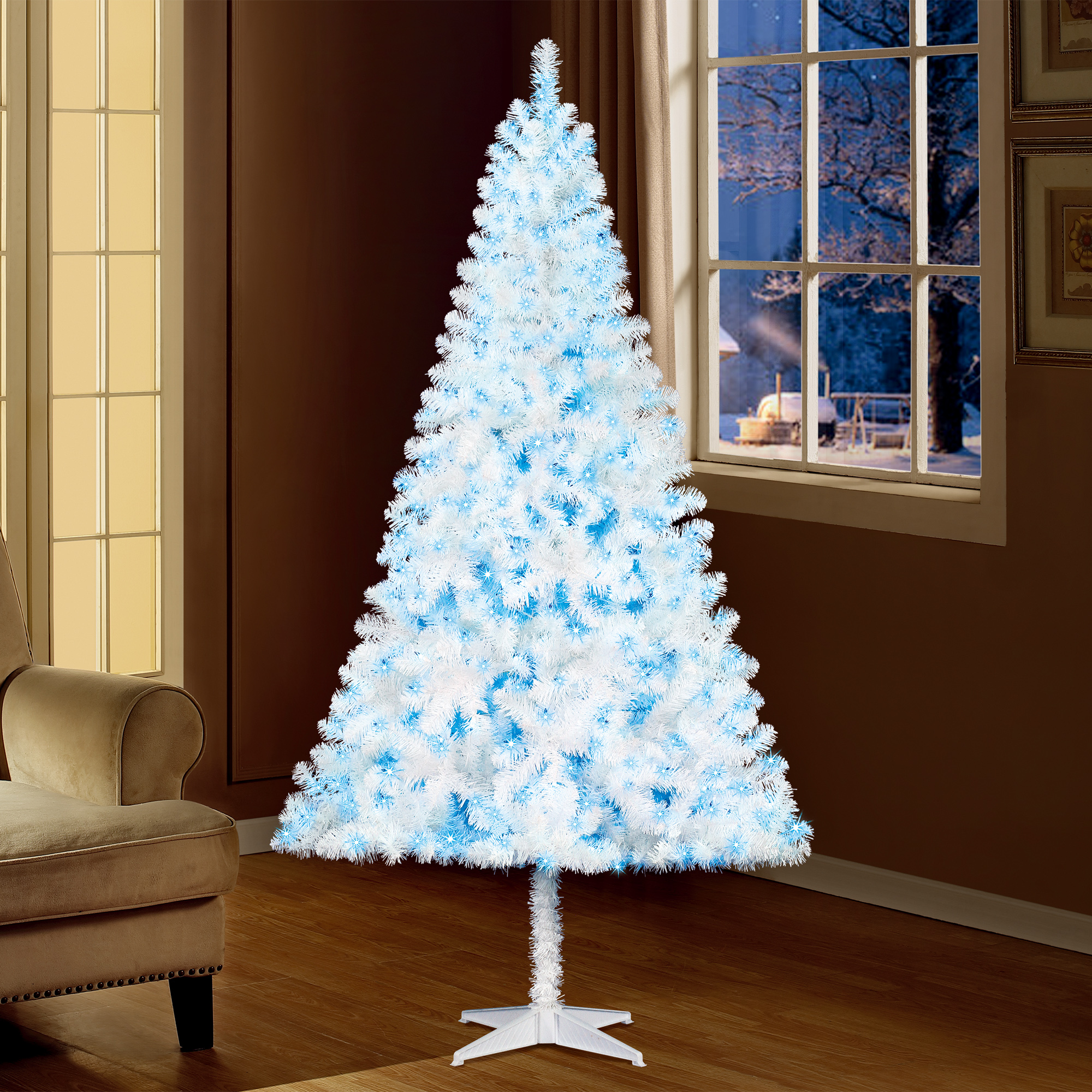 Holiday Time Prelit Pine Christmas Tree 6.5 ft, White ...