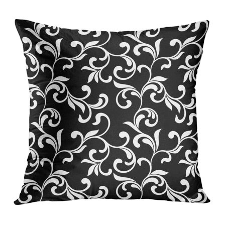 ECCOT Abstract Floral White Swirls and Foliage Ideal and Antique Beauty Black Classic Curl Pillowcase Pillow Cover Cushion Case 16x16 inch](Black And White Swirl)