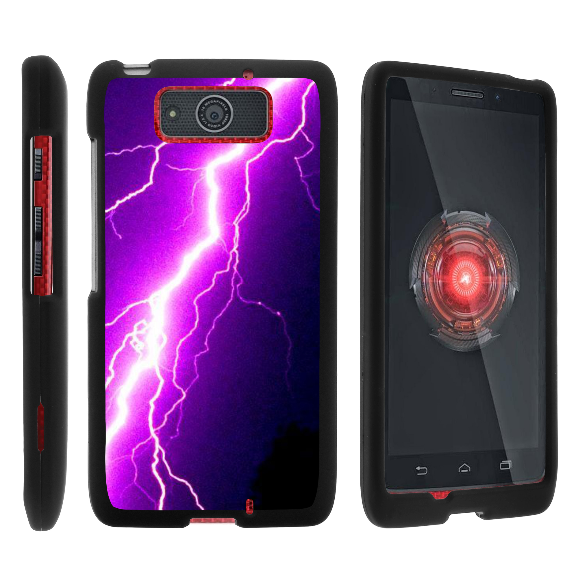 Motorola Droid Ultra XT1080 | Droid Maxx XT1080-M, [SNAP SHELL][Matte Black] 2 Piece Snap On Rubberized Hard Plastic Cell Phone Case with Exclusive Art - Purple Lightning Bolt