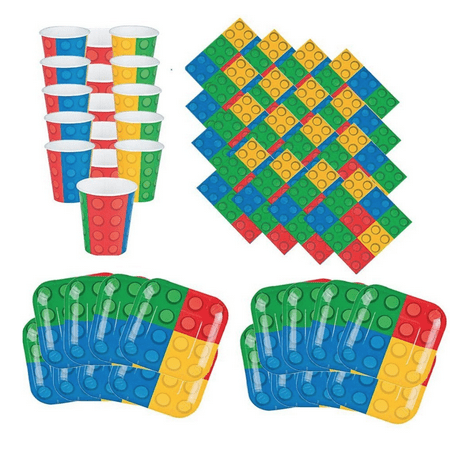 Building Blocks Birthday Party Pack: 16 Plates, Napkins, Cups, Lego-Type Party Supplies (Discount Party Supply Coupon)