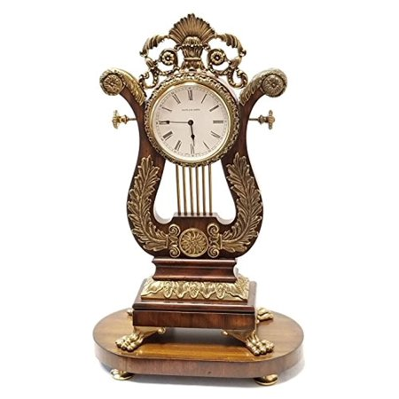 Maitland-Smith Aged Regency Finished Wood Mantel Clock with Antique Brass Accents (Regency Brass Finish)