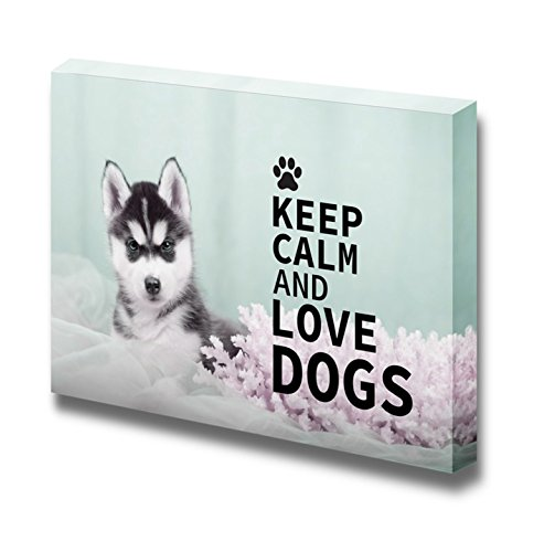 "Canvas Wrap Wall Art - Keep Calm and Love Dogs | Modern Wall Decor Stretched Canvas Prints Ready to Hang - 24"" x 36"""