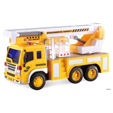 Memtes Friction Powered Hoist Bucket Construction Truck Toy with Lights and Sounds for - Construction Toys For Kids