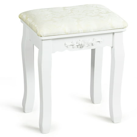 Costway White Retro Wave Design Makeup Dressing Stool Pad Cushioned Chair Piano Seat ()