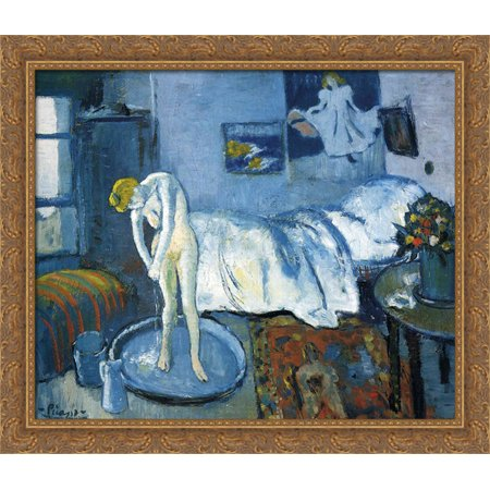 A blue room (A tub) 32x28 Large Gold Ornate Wood Framed Canvas Art by Pablo Picasso - Gold Tux