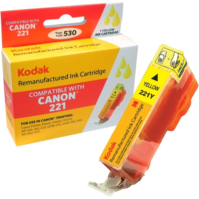 Kodak Remanufactured Ink Cartridge Compatible with Canon 221/221Y (CLI-221Y) High-Yield Yellow