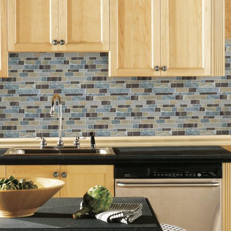 (Blue Long Stone Peel and Stick Tiles (4-Pack) Kitchen Bathroom Backsplash Decor)