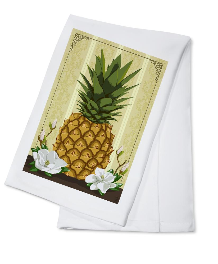 Colonial Pineapple with Magnolias Lantern Press Artwork (100% Cotton Kitchen Towel) by Lantern Press