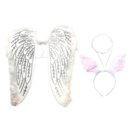 Pretend Play Dress Up Mozlly White Fluffy Glittery Adult Angel Wings and Mozlly White Angel Halo Fluffy Headband with Wings