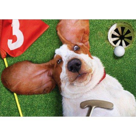 Avanti Press Basset On Back on Golf Green Funny Dog Father's Day (Golf Jokes Birthday Card)
