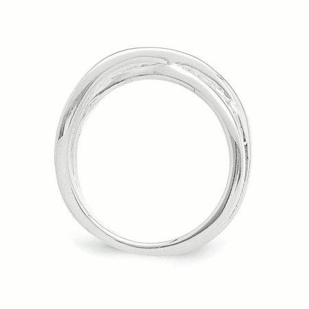 SS White Ice .03ct. Diamond Crossover Ring Size 7 - image 1 de 3