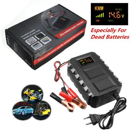 20A 12V AC Smart Car Lead Acid Dead Battery Engine Starter Jump Starter Booster Power Digital Color LCD Display For 12V Car, Motorcycle Van Mower, Boat, RV,